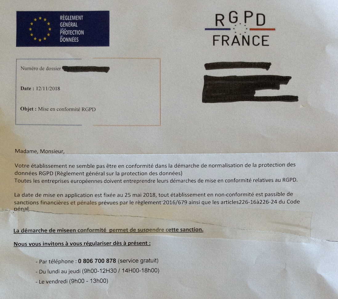 Watch out for RGPD scam letters sent to entrepreneurs!