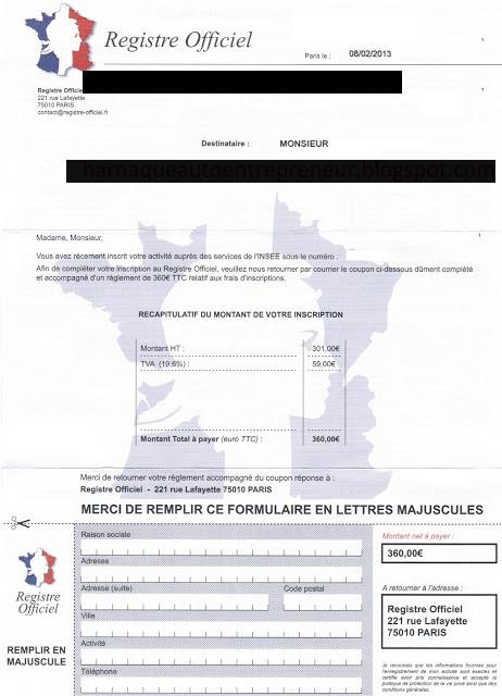 Registre Officiel is a scam